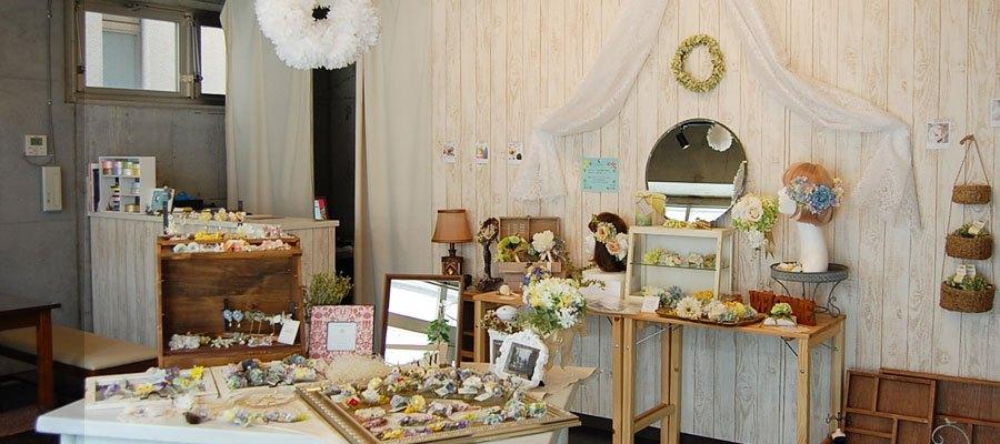 名古屋大須の造花屋ブーケ/ヘッドドレス/花冠販売・教室・オーダーのah flowers店内